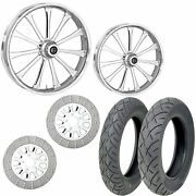 Rc Exile Chrome 21/18 Front Rear Wheel Package Set Tires Rotors Harley Flh/t