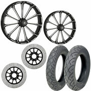 Rc Exile Eclipse 21/18 Front Rear Wheel Package Set Tires Rotors Harley Flh/t