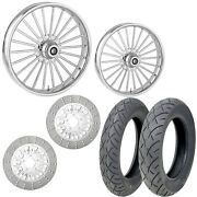 Rc Illusion Chrome 21/18 Front Rear Wheel Package Set Tires Rotors Harley Flh/t