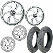 Rc Recoil Chrome 21/18 Front Rear Wheel Package Set Tires Rotors Harley Flh/t