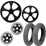 Rc Stratos Black 21/18 Front Rear Wheel Package Set Tires Rotors Harley Flh/t