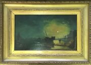 Henry Pether 19th Century Oil Painting - London Dock Scene By Moonlight