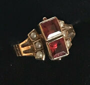 Antique Ostby Barton 10k Gold Garnet And Seed Pearl Ring.