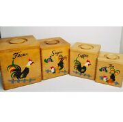 Vtg 50's Mcm Nevco Made In Japan Wooden Rooster Canisters Hand Painted W/lids
