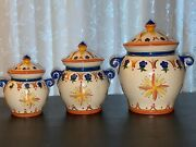 Giftcraft 2003kitchen Canistersmexican Sunrise Ceramic 2003 Set Of 3