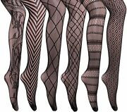 Cozywow Soft And Stretchy High Waist Fishnet Tights Partterned Fishnets Garter Sto