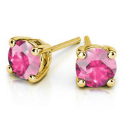 4.00 Ct Real Pink Sapphire Solitaire Stud Earrings 14k Yellow Gold Studs For Her
