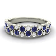 Round 0.91 Ct Real Diamond Blue Sapphire 950 Platinum Rings For Her Size 5.5 7 8
