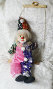 Porcelain Head Clown On Swing Cloth Body 80cm Tall Incl Brace, Ring And Strings