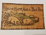 Antique Leather Post Card With Ben Franklin 1 Cent Stamp Andnbsp Post Card 1907 So-17