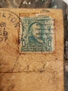Antique Leather Post Card With Ben Franklin 1 Cent Stamp Andnbsp Post Card 1908 So-13