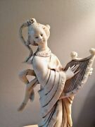 Antique Chinese Geisha Girl Ivory Lute Player W Base Fgiurine Made In Italy