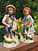 Antique Vintage Home Interiors Homco Boy And Girl Set Farm Rooster And Hen Figurines