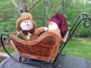 Antique Primitive Wrought Iron And Wicker Christmas Sleigh Doll Snowmen 16h 28w