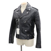 Givenchy Eagle Motif Leather Jacket Black 48 Calfskin Italy Authentic Ss705 S