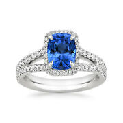 Cushion 1.96 Ct Real Diamond Blue Sapphire Platinum Rings For Her Size 5.5 6 7 8