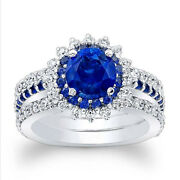 Round Cut 2.49 Ct Real Diamond Blue Sapphire Platinum Rings For Her Size 5 6 7 8