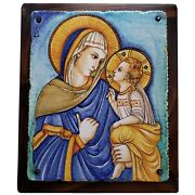 Rare Large Deruta Pottery Icon Madonna And Child Gialetti Italy Signed By Artist