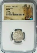 1550 King Sigismund Poland Silver 1/2g Groschen Ngc Ms 62 Lithuania Holy Knight