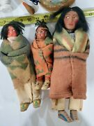 Vintage Skookum Indian Native American Doll Family Drum And Figures Rare Wow
