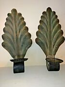 """16""""h Metal Key West Palm Tree Leaf Wall Hanging Pillar Candle Holders Set Of 2"""