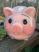 Large Mid Century Vintage Pottery Piggy Bank Fat Belly Curly Tail Pink Pig 7 X 8