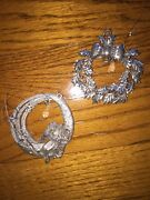 Spoontiques Pewter Set Of 2 Angel And Holly Leaf Crystal Drop Christmas Ornaments