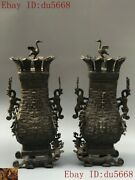 China Dynasty Bronze Ware Crane Bird Beast Dragon Statue Zun Cup Bottle Pot Jar
