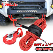 Atv Utv Car Red 1/4 X 50ft Synthetic Winch Rope 7000lbs Half-linked Clevis Hook