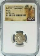 Count Of Melgueil Ngc Ms 63 France Denier 1100's Knights Templar Crusader Coin