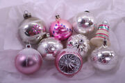 Lot 9 Vintage Mercury Glass Christmas Ornaments Glitter And Paint Pink And Silver