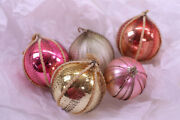 Lot Of 5 Antique Victorian Wire Wrapped Mercury Glass Christmas Ornaments