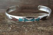 Native Indian Sterling Silver Turquoise Chip Inlay Bracelet By Joleen Yazzie
