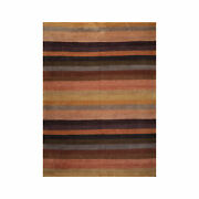 9and039 X 12and039 Hand Knotted Tibetan Wool Stripes Modern Art Deco Area Rug Brown 9x12