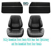 1968 Chevelle Touring Ii Buckets - Assembled Dr Panels- Std Rear Seat Upholstery