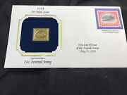 22k Gold Replica Of 24 Cent U.s. Stamp Inverted Jenny First Day Issue