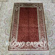 Yilong 2.5and039x4and039 Handmade Silk Floral Carpet Antistatic Kid Friendly Rug H194b