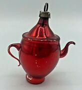 Antique German Mercury Glass Red Teapot Feather Tree Christmas Ornament
