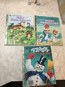 3 Vintage Little Golden Books Frosty The Snowman, Baby Farm Animals And Woody Wood