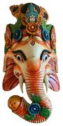 Qt S Ganesh Hand Crafted Wooden Wall Hanging Decoration Home Office Gift - Nepal