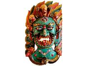 Qt S Bhairab Hand Crafted Stone Finish Wooden Wall Hanging Decor Buddhism Nepal
