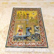 Yilong 2.7and039x4and039 Handknotted Silk Area Rug Pictorial Scenery Oriental Carpet Z383a