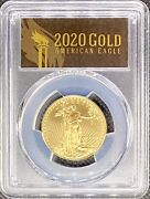 2020 1/2 Oz • American Gold Eagle G25 • Ms70 Pcgs • First Strike Coin Gold Lbl.