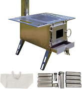 Outdoor Wood Burning Stove Portable Tent Shelter Heater Camping Cooking W/ Pipe