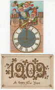 Two Vintage 1909 Happy New Years Postcards - Posted