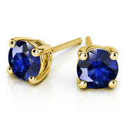 4.00 Carat Pair Of Real Blue Sapphire Stud Earrings 14k Solid Yellow Gold Studs