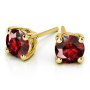 4.00 Carat Real Ruby Gemstone Stud Earrings 14k Solid Yellow Gold Studs For Her