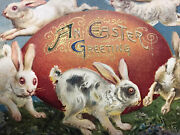 Vintage Rare Collectible Easter Bunny Embossed Rabbits Post Card 1912 Creepy