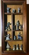 14 Antique Lead Figurines Framed In A Wooden Shadow Box With Glass