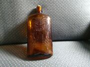 United Distillers American Rye Whiskey Embossed Amber Glass Bottle Flask Canada